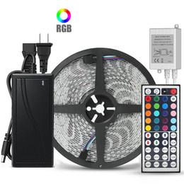 Controlador 44key ir on-line-10M 5M Flexível RGB LED luz de tira 5050 SMD 5M 300 LEDs 10M 600 LEDs com controle remoto IR 44key