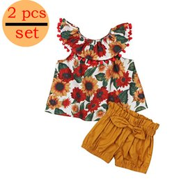 toddler girl christmas shirts Coupons - 2019 Toddler Girls Summer Clothing Set Sunflower Vest + kids Shorts Kids Clothes Girls Shirt Pants Suit Brand Children Clothing