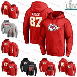 Men's NFL Pro Line Red Kansas City Chiefs Any Name & Number Logo Personalized Pullover Hoodie