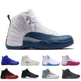2019 vidrio de aire gs Nuevo 12 12s XII zapatos de baloncesto hombre de aire Negro Nylon TAXI blanco Juego de la gripe Copa de 2003 Winterized Playoffs G gimnasia retro azul Seankers J12 rojos vidrio de aire gs baratos