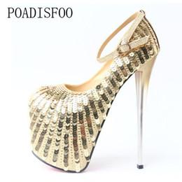 Día de la boda talones online-Zapatos de vestir de diseñador POADISFOO Super tacón alto con 20 cm de lentejuelas individuales Boda sexy Días de odio Código 43 de mujeres MJL-6678-69
