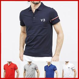 2019 camisas dos homens da tela 2019 Mens Designer Y3 marca de roupas de homens carta de tecido polo t-shirt gola casual t-shirt camiseta tops camisas dos homens da tela barato