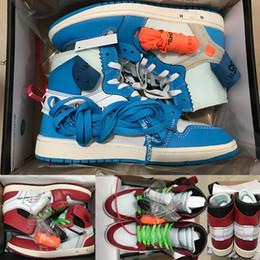 2019 caja china de satén 1 Zapatos de baloncesto OG off Mens Chicago red Sneakers mujer diseñador zapatos Verde blanco Negro zapatillas deportivas de lujo de alta calidad US5.5-12