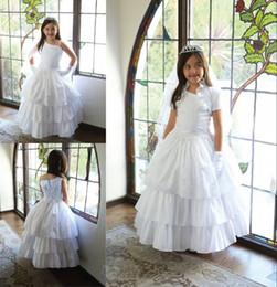 Jaquetas para um ombro vestidos on-line-Elegante tafetá Flower Girl Dresses para o casamento com revestimento de um ombro Layered Lace dois em um vestidos de noiva princesa vestido de baile para crianças