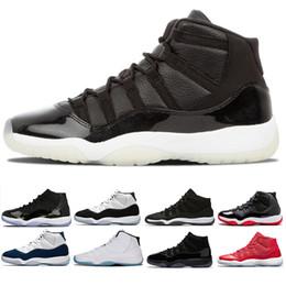 Acquistare i berretti online-2019 Best nike air jordan 11 Cap and Gown scarpe da basket uomo donna Prom Night Sneaker nero palestra rosso Midnight Navy concordato gamma blu scarpe sportive