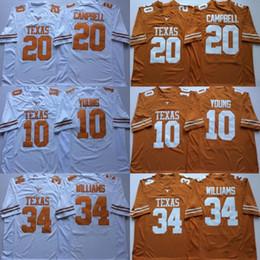 Canada Maillots de football NCAA Vintage Texas Longhorns College pas cher 10 Vince Young 34 Chemises de football de l'Université Earl Campbell de Ricky Williams 20 M-X cheap university shirts Offre