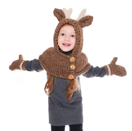 Bebek kız Kış yün kap golves Noel Elk Şapka Eşarp Çocuklar Karikatür Geyik Örme kapaklar Isıtıcı Elk Kapüşonlu Eşarp 2 in 1 LJJA2809 nereden