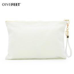 2020 sacchetto di nappa bianco OIVEFEET LGC212,12oz Plain White Cotton Canvas Clutch Handbag PU catena nappa 3 Cotone colore Pochette oro Zipper Makeup Pouch sconti sacchetto di nappa bianco