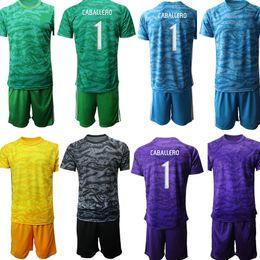 Roupas roxas para crianças on-line-Personalizado Argentina Goleiro 1 CABALLERO Crianças Football Kits de manga curta Crianças de Futebol camisa de futebol roupa dos meninos Roxo Amarelo
