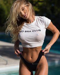 2019 бюстгальтер хараюку Модный сексуальный укороченный топ без бюстгальтера Клубная женская футболка Harajuku Белый хлопок с круглым вырезом Короткая прозрачная футболка Повседневные уличные топы дешево бюстгальтер хараюку