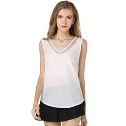 Mujeres con cuello en V sin mangas de verano Tops y blusas chaleco de gran tamaño ver a través de malla de gasa empalmado camisa de las mujeres # 290740 desde fabricantes