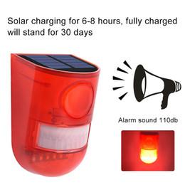 2020 sensor de movimiento de sonido Lámpara de alarma solar 110db Advertencia Sonido 6led Luz roja IP65 Sensor de movimiento a prueba de agua Luces de precaución para almacén Secret Place Place sensor de movimiento de sonido baratos