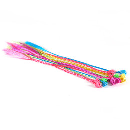 Extensiones de cabello para niños online-Clip de nylon en color Artificia Extensiones de trenza del cabello Clip-In para niños niñas 12pcs Suministros de alta calidad para niñas