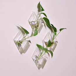 Argentina Original diamante hipotenusa colgar en la pared florero decoración del hogar moda colgando tanque de peces dispositivo de arreglo floral hidropónico Suministro