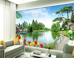 нестандартный размер 3d фото обои гостиная кровать роспись тюльпан озеро китай пейзаж 3d изображение диван тв фоне обои нетканый стикер от