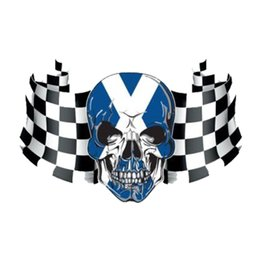 car flags stickers Promo Codes - Scottish Checkered Flag Skull Sticker Car Motorcycle Vinyl Car Sticker Laptop Accessories Decorative Decal