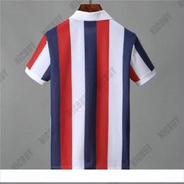 Polo rayure blanche en Ligne-designer mens marque polo t-shirt mode été vêtements t shirt classique à rayures lettre bleu blanc rouge T-shirt col rabattu Tee-shirt décontracté