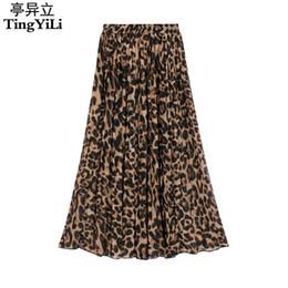 Elástica cintura alta maxi saia on-line-Tingyili verão mulheres longo leopard print saia elástico de cintura alta chiffon plissado slim fit casual maxi saia y19060301