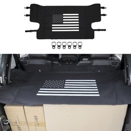 accessories for jeep Promo Codes - Black Trunk Curtain Car Trunk Shelter Curtain For Jeep Wrangler JL 2018+ Auto Interior Accessories (American Flag)