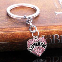 porte-clés coeur rose Promotion 12 PC En Gros Porte-clés Petite Soeur Soeur Amour Coeur Rose Cristal Famille Femmes Fille Porte-clés Porte-clés Meilleur Ami Cadeaux De Famille