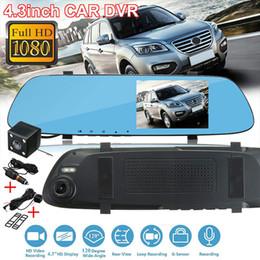 2019 vídeos chineses Universal Car DVR Camera Recorder traço Cam 720P 4.3inch detecção de movimento de vidro HD Rear View Camera Espelho Prático Dashcam