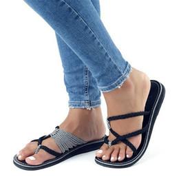 Tamanho europeu 34 sapatas on-line-Loecktty / Plus Size 34-43 Flats Sandálias de Verão Mulheres chinelos Moda Sapatos Casuais Para A Mulher Europeia Estilo Roma Sandale Femme