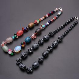 colares de pérolas de pedras semi-preciosas Desconto 3 pcs de cristal natural semi-precious stone amazonite colorido das mulheres colar de jóias contas redondas corda colar de energia livre