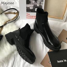 2020 корейский стиль женщин сапоги Boots Women Korean Style Thick Bottom Simple Elegant  Shoes Womens Trendy Non-slip High Quality Plus Velvet Warm Female дешево корейский стиль женщин сапоги
