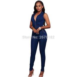2020 jeans macacao Donne sottili di nuova estate di casuale delle tute dei jeans profonda scollatura a V senza maniche pagliaccetti Femminile Sexy Club Zipper Tute Macacao Feminino jeans macacao economici
