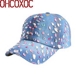 Canada casquette de base-ball de mode pour dames de luxe nouvelles bling chapeaux femme dame pierres caps 55-59 cm coton denim casquette gorras os occasionnel # 319668 Offre