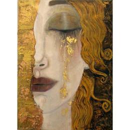 peintures à l'huile de qualité femmes Promotion Art mural Larmes dorées de Gustav Klimt reproduction de peintures à l'huile femme en or de belles œuvres d'art pour le décor de chambre à coucher fait main de haute qualité