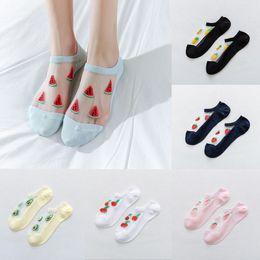 Frutta di seta online-Donna Casual Summer Fashion Trasparente Silk Fruit Print Socks Short Carino Sock Daily olid Colors fai da te Sock