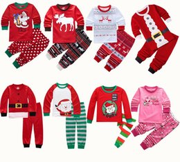 Primavera online-niños Ropa para los muchachos de los pijamas de Navidad niños de los sistemas de Navidad ciervos Santa Claus tapas + pantalones de la raya 2pcs / set Primavera Otoño trajes C898