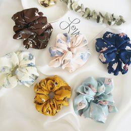 Conjunto de 6 peças grandes da Mulher Titular Chiffon Flower Scrunchies cabelo cabelo Bow Chiffon rabo de cavalo de