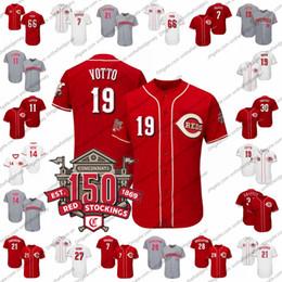Красный номер трикотажные изделия бейсбола онлайн-Пользовательские Цинциннати 150-й Бейсбол Джерси Красные любое имя номер 19 Джои Вотто 66 Ясиэль Пуиг 7 Эудженио Суарес 58 Луис Кастильо S-4XL