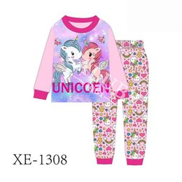 0047b06096a Wholesale Baby Girls Twins Unicorn Pajamas 2019 Kids Long sleeve Clothing  Infantil Spring Autumn Pyjamas Sets For 2-7Y XE-1308