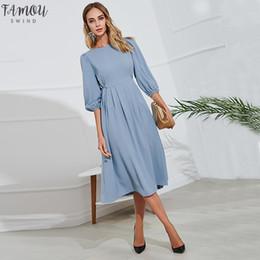 bürokleid knie ärmel Rabatt Button Blau-Verband-Kleid-Frauen 2019 Frühlings- und Sommer Halbarm Knielange Kleider Vestidos eleganten Büro-Dame-Partei-Kleid