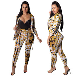 cappotti in oro giù Sconti Fashion Gold Print Women due pezzi Set Turn Down Collar 3/4 manica monopetto Cardigan Coat matita pantaloni Business Suit Outfit