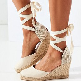 9dc92534973 Women Sandals Retro Wedges Shoes Woman Summer Platform Sandals Lace Up  Chunky Heigh Heels Sandalias Mujer Wedge Heel Shoes Lady