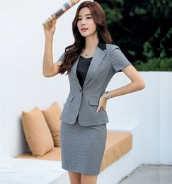 01b5ad7922e1 New 2019 Summer Formal Ladies Grey Blazer Women Business Suits with Skirt  and Jacket Sets Office Work Wear Clothes