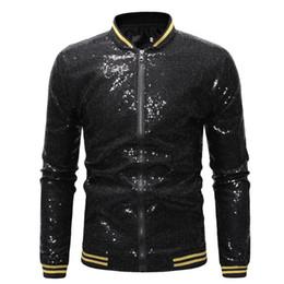 Revestimento do terno do sequin dos homens on-line-DIHOPE Homens brilhante Jacket ouro Lantejoula Glitter paletós masculinos sólidos Coats Jacket Zipper Discoteca DJ Stage 2020 roupa nova