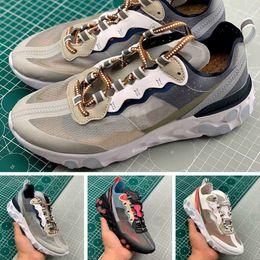 2019 zapatillas marrones 2019 React element 87 para hombre zapatillas deportivas deportivas de calidad superior Green Mist LIGHT OREWOOD BROWN transpiradores de moda transpirable zapatillas marrones baratos