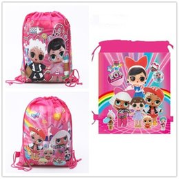 2019 billige rosa rucksäcke Überraschung Kordelzug Mädchen Cartoon Rucksack Rosa Gedruckt Aufbewahrungsbeutel Kinder Im Freien Vliestaschen Günstige A21603 L günstig billige rosa rucksäcke