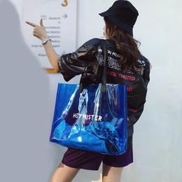sacs d'emballage d'été de sucrerie de gelée Promotion Europe PVC clair sacs fourre-tout transparents pour les femmes bonbons Jelly Beach Bags femmes été 2019 grand épaule Casual
