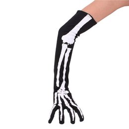 luvas de mão de manga comprida Desconto luva luva de ciclismo esqueleto halloween luvas hollowen adereços cosplay ossos mão ossos longos mangas mão sports1 exterior