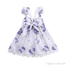 Argentina Vestido de las muchachas púrpura flor impresa tirantes falda con encaje Pizzo vestidos de princesa verano vestido floral 2-6t cheap pizza girl Suministro
