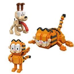 Divertente personaggio classico fumetto gatto Garfield micro diamante building block Odie dog nanoblock modello mattoni giocattoli per bambini regali da