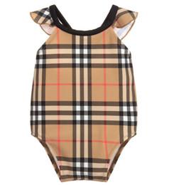 Nueva ropa de gama alta online-Nuevo superventas de alta calidad de una pieza de monos para bebés Traje de baño clásico enrejado chica traje de baño para niños ropa de playa
