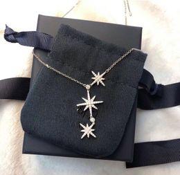 silberne dreifachkettenhalskette Rabatt Luxus Klassische Designer S925 Sterling Silber Vollzirkon Dreifach Meteoriten Stern Anhänger Halskette Für Frauen schmuck