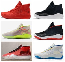 Kd mid top basketball schuhe online-Kevin Durant KD 12 Sport Basketball Schuhe Herren Triple Schwarz Rot 12s Designer Sport Sneaker Trainer des chaussures top Schuhe de basquete